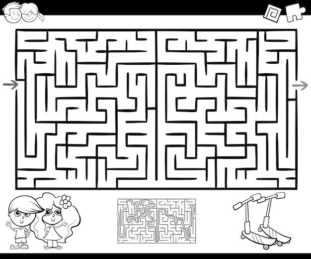Doolhof of labyrint activiteit om in te kleuren