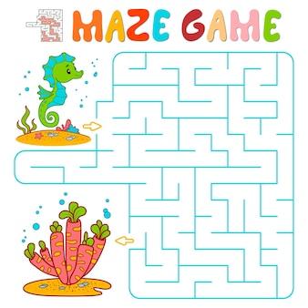 Doolhof puzzelspel voor kinderen. doolhof- of labyrintspel met vissen. vectorillustraties