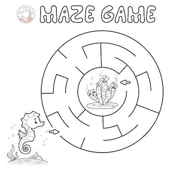 Doolhof puzzelspel voor kinderen. overzicht cirkel doolhof of labyrint spel met vis.