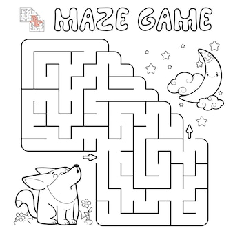 Doolhof puzzelspel voor kinderen. overzicht doolhof of labyrint spel met wolf. illustraties