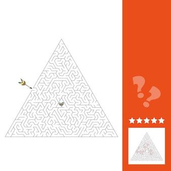 Doolhof puzzelspel voor st. valentine day. doolhofspel voor kinderen, inclusief antwoord