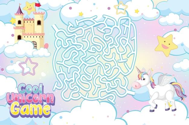 Doolhof puzzelspelactiviteit voor kinderen in eenhoorn-thema