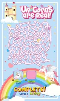 Doolhof puzzelspelactiviteit voor kinderen in eenhoornthema