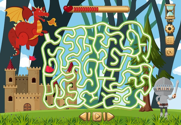 Doolhof puzzelspelactiviteit voor kinderen in fantasiethema
