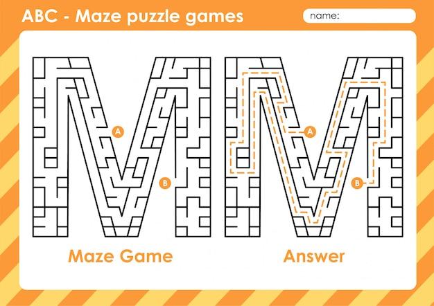 Doolhof puzzelspellen - alfabet a - z activiteit voor kinderen: letter m