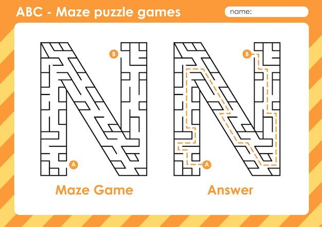 Doolhof puzzelspellen - alfabet a - z activiteit voor kinderen: letter n