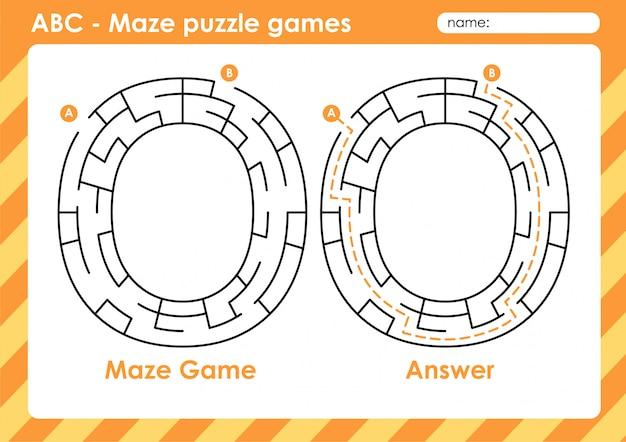 Doolhof puzzelspellen - alfabet a - z activiteit voor kinderen: letter o