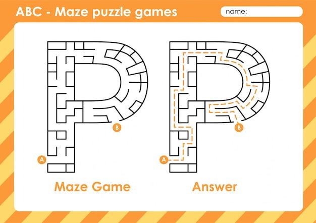 Doolhof puzzelspellen - alfabet a - z activiteit voor kinderen: letter p