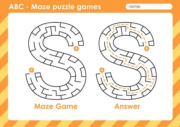 Doolhof puzzelspellen - alfabet a - z activiteit voor kinderen: letter s