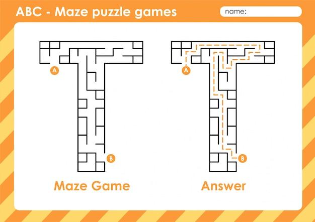 Doolhof puzzelspellen - alfabet a - z activiteit voor kinderen: letter t