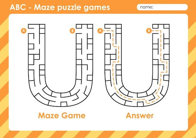 Doolhof puzzelspellen - alfabet a - z activiteit voor kinderen: letter u