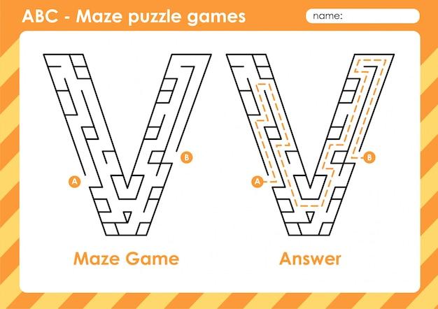 Doolhof puzzelspellen - alfabet a - z activiteit voor kinderen: letter v