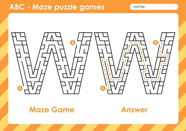 Doolhof puzzelspellen - alfabet a - z activiteit voor kinderen: letter w