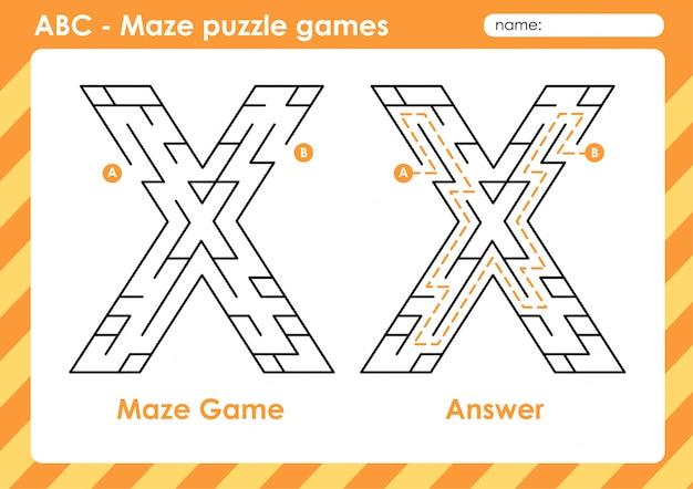 Doolhof puzzelspellen - alfabet a - z activiteit voor kinderen: letter x