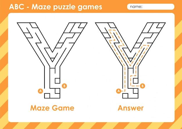Doolhof puzzelspellen - alfabet a - z activiteit voor kinderen: letter y