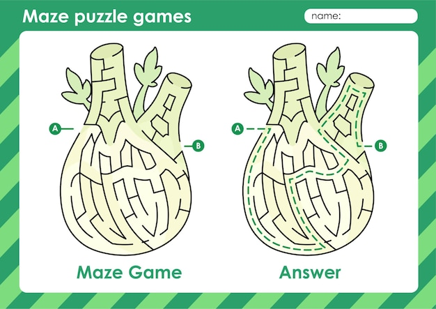 Doolhof puzzelspelletjes activiteit voor kinderen met fruit en groente foto venkel