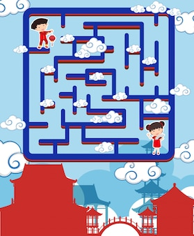 Doolhof spel sjabloon met chinese jongen en meisje