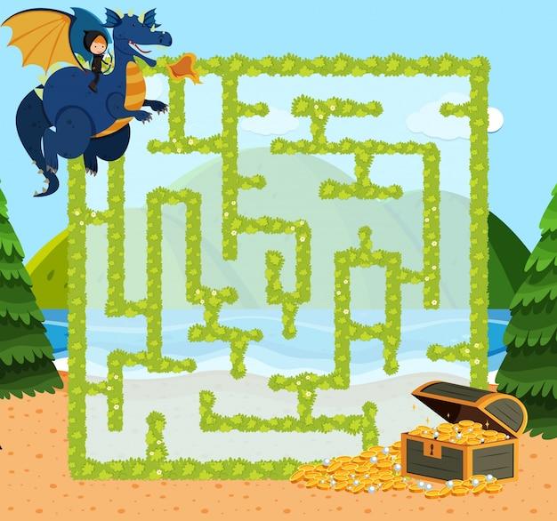 Doolhof spel sjabloon met dragon en goud