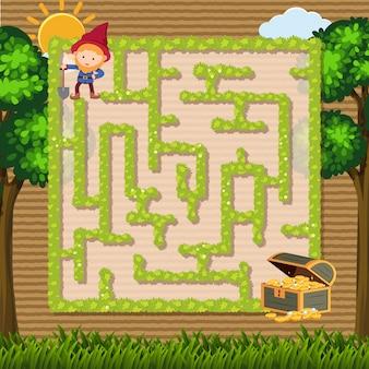 Doolhof spel sjabloon met dwerg en tuin achtergrond