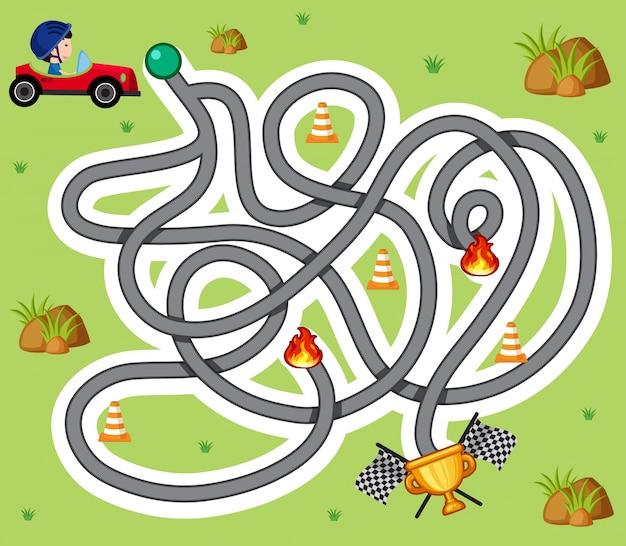 Doolhof spel sjabloon met jongen in een racewagen