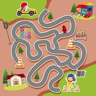 Doolhof spel sjabloon met kind in een racewagen