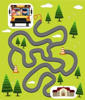 Doolhof spel sjabloon met kinderen in schoolbus
