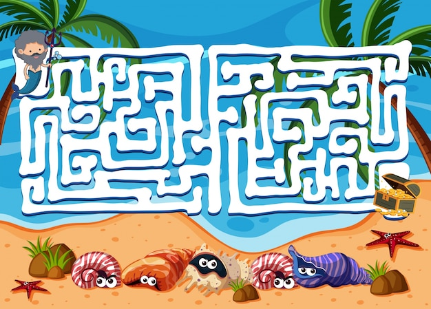 Doolhof spel sjabloon met oceaan op de achtergrond