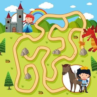 Doolhof spel sjabloon met prinses en ridder