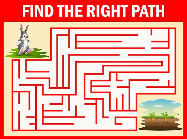 Doolhof spel vindt het konijn weg naar de wortel