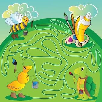 Doolhof voor kinderen - help de schildpad, mier, bij om verf en penselen te krijgen om te schilderen - vector