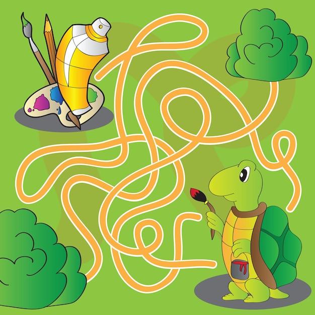 Doolhof voor kinderen - help de schildpad om verf en penselen te krijgen om te schilderen - vector