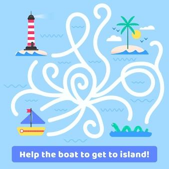 Doolhof voor kinderen met boot en eiland
