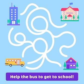 Doolhof voor kinderen met bus- en schoolgebouw