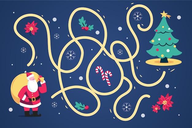 Doolhof voor kinderen met kerstman en boom