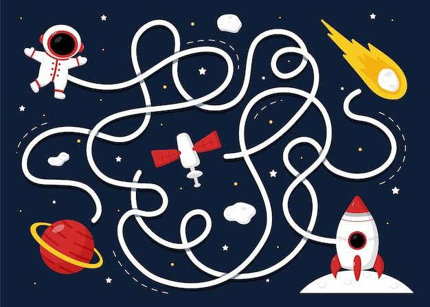Doolhof voor kinderen met ruimte-elementen
