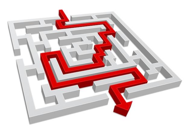 Doolhoflabyrint met rode pijl