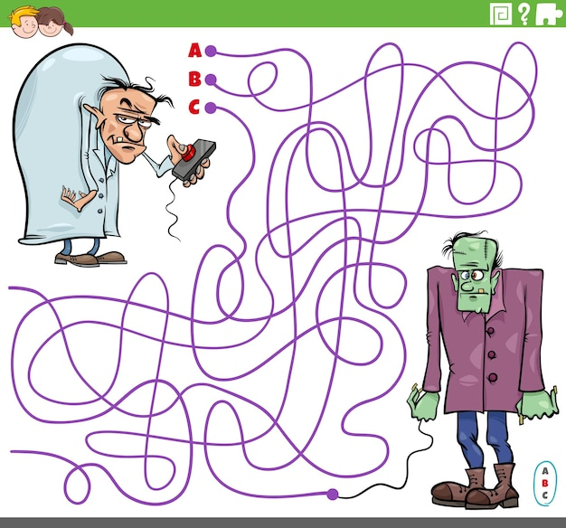 Doolhofpuzzelspel met stripfiguren van kwaadaardige wetenschappers en zombies