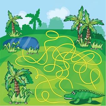 Doolhofspel - help de krokodil om een weg naar het meer te vinden