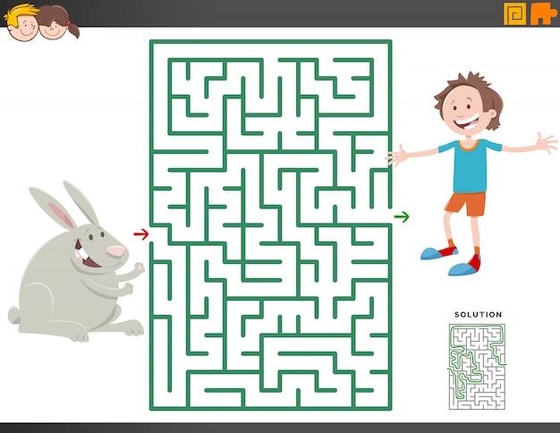 Doolhofspel met cartoon jongen en konijn