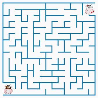 Doolhofspel met koe voor kinderen, geometrisch labyrint met in- en uitgang. vector illustratie.