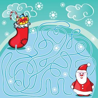 Doolhofspel- of activiteitenpagina voor kinderen - help de kerstman om de juiste weg naar cadeaus te kiezen