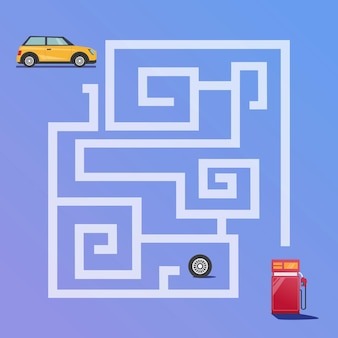 Doolhofspel vindt de autoweg naar de premium vector van het tankstation voor educatie en verzameling van kinderen