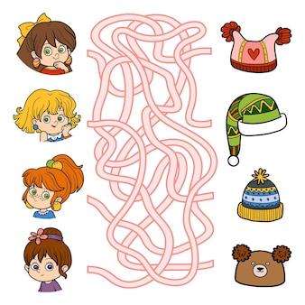 Doolhofspel voor kinderen educatieve spelletjes voor kinderenkleine meisjes en hoeden