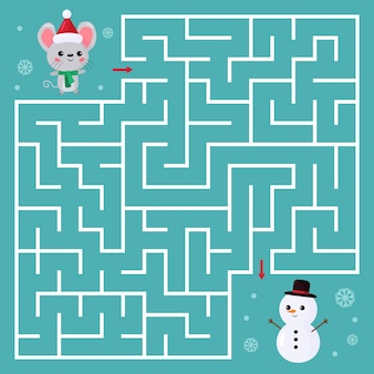 Doolhofspel voor kinderen. help de kawaii-muis om de juiste weg naar sneeuwpop te vinden.