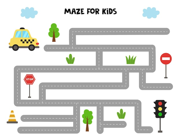 Doolhofspel voor kinderen. help de taxi-auto bij de verkeerslichten te komen. werkblad voor kinderen.