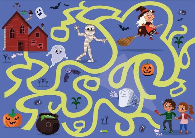 Doolhofspel voor kinderen in halloween-concept vectorillustratie