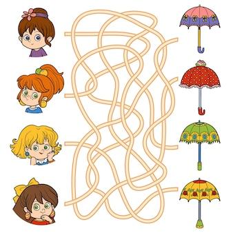Doolhofspel voor kinderen. kleine meisjes en paraplu's