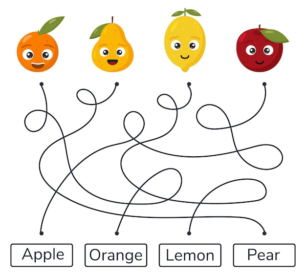 Doolhofspel voor kinderen, kleuterschool en voorschoolse leeftijdslabyrint fruit
