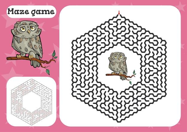 Doolhofspel voor kinderen leuke cartoon werkblad illustratie