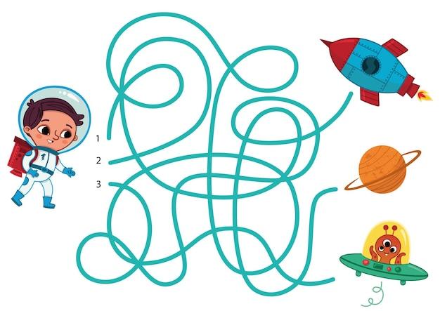 Doolhofspel voor kinderen met als thema ruimte en astronaut vectorillustratie